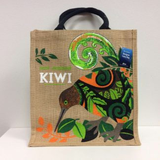 kiwi and leaves shopping bag