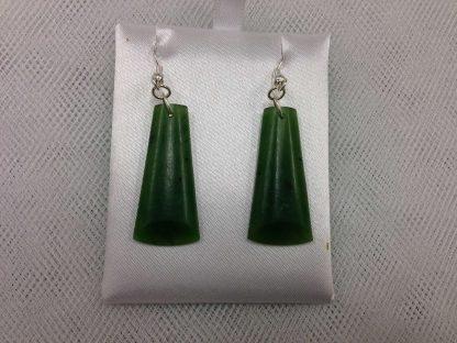 New Zealand Greenstone (Pounamu) Polished Drop Earrings