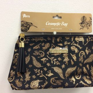 Black & Gold Birds Cosmetic Bag