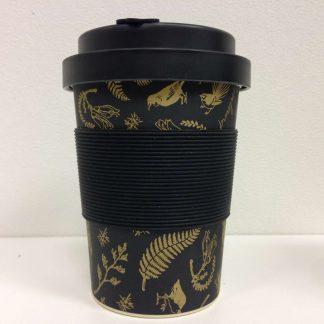 Black & Gold Birds Bamboo Fibre Coffee Cup.
