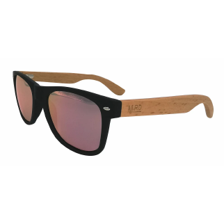 Moana Road 50/50 Sunglasses with Black Frames, Wooden Arms and Pink Lenses