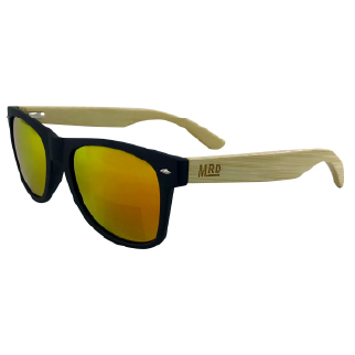 Moana Road 50/50 Sunglasses with Black Frames, Wooden Arms and Yellow Lenses