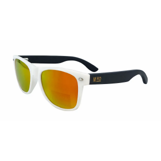 Moana Road 50/50 Sunglasses with White Frames with Black Arms and Orange Lenses