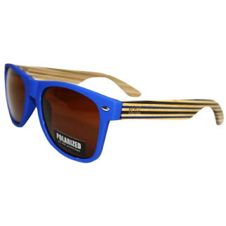 Moana Road 50/50 Sunglasses with Blue frames, Striped Arms and Polarised Lenses
