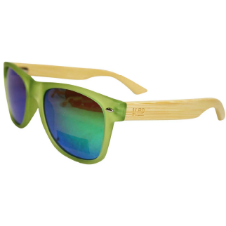 Moana Road 50/50 Sunglasses with Green Frames, Wooden Arms and Blue Lenses