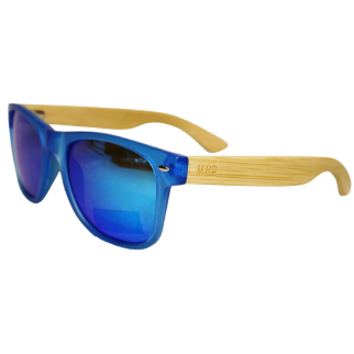 Moana Road Blue 50/50 Sunglasses with Wooden Arms and Blue Reflective Lenses