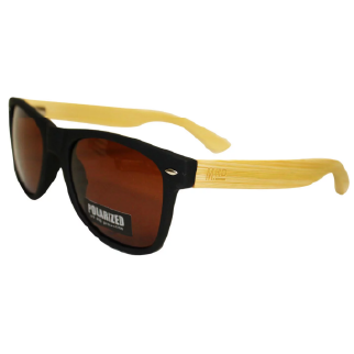 Moana Road 50/50 Sunglasses with Black Frames, Wooden Arms and Polarised Lenses