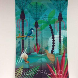 NZ Scene Birds & Bush Tea Towel